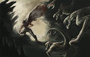 Bakgrundsbilder på skrivbordet Riddick 2013 Krigare Monster Vin Diesel Filmer Kändisar Fantasy