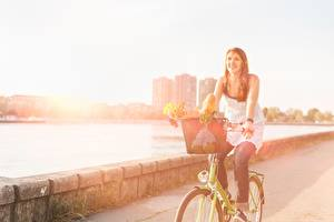 Wallpapers Bicycle Street young woman Cities