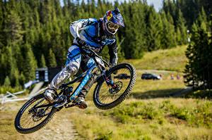 Pictures Men Bicycle Helmet Jump sports