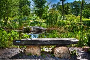 Bilder Garten USA Teich Steine Bank (Möbel) HDRI Coastal Maine Botanical Natur