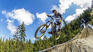 Pictures Bicycles Jump Helmet Sport