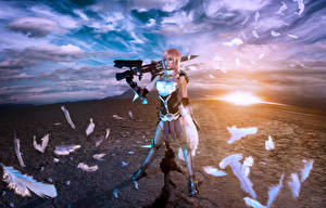 Image Final Fantasy Final Fantasy XIII Feathers Sky Warrior Clouds Lyz Brickley vdeo game Girls Fantasy