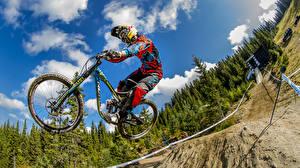 Photo Bicycles Jump Helmet Sport