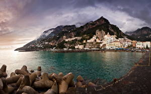 Pictures Italy Mountains Coast Sea Amalfi Cove Cities