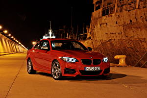 Pictures BMW Red Night time 2013 M235i F22 Cars