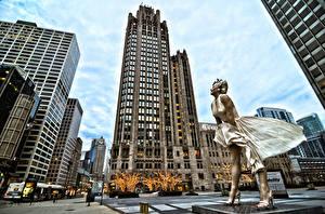 Fotos Vereinigte Staaten Gebäude Wolkenkratzer Marilyn Monroe Denkmal Chicago Stadt Stadtstraße Mädchens Prominente