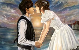 Wallpaper Love Couples in love Gown Guys Fantasy Girls