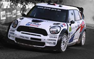 Hintergrundbilder Mini Weiß Vorne Fahrzeugscheinwerfer Cooper Autos Sport