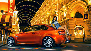 Wallpapers BMW Orange Side M1 1M Coupe auto Girls