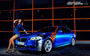 Wallpapers BMW Blue M5 Cars Girls