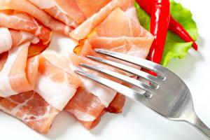 Fotos Fleischwaren Schinken Hautnah Gabel Lebensmittel