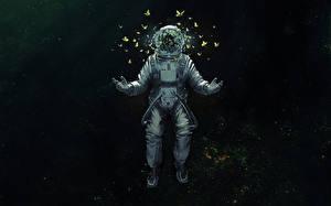 Wallpaper Astronaut Butterflies Space Fantasy