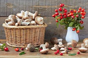 Bilder Pilze Weidenkorb Lebensmittel