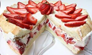 Bilder Süßware Torte Erdbeeren Großansicht Lebensmittel