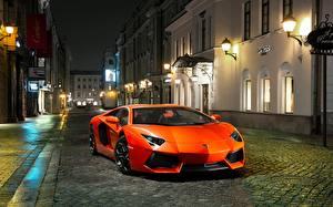 Wallpaper Lamborghini Orange Front Luxury Street Aventador LP700-4 automobile