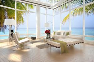 Wallpaper Interior High-tech style Window Sofa Wing chair