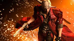 Papel de Parede Desktop Devil May Cry Devil May Cry 4 Homem Dante Pistola Jaqueta videojogo 3D_Gráfica Fantasia