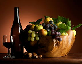 Pictures Fruit Grapes Wine Bottle Food
