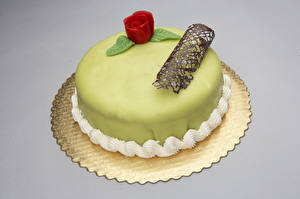 Bilder Süßware Torte Farbigen hintergrund Lebensmittel