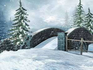 Pictures Seasons Winter Bridges Spruce Snow 3D_Graphics