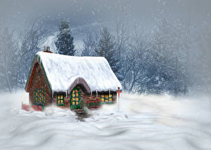 Pictures Seasons Winter Building Snow 3D_Graphics