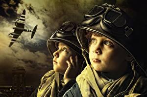 Images War Airplane Helmet Glasses Face 2 child
