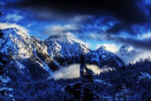 Hintergrundbilder Winter Gebirge Vereinigte Staaten Schnee HDR Natur
