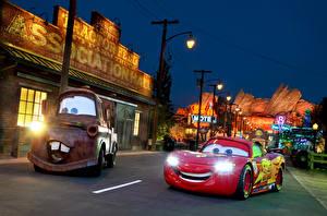 Hintergrundbilder Vereinigte Staaten Cars Disneyland Park Kalifornien Anaheim Nacht Straßenlaterne HDR Städte