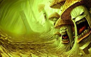 Hintergrundbilder Pilze Natur Grinsen Fantasy