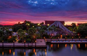 Bilder USA Park Disneyland HDRI Kalifornien Design Nacht Anaheim Städte