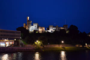 Pictures Castle Scotland River Coast Night Street lights Inverness Cities