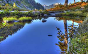 Fotos USA Flusse Landschaftsfotografie Wasser HDRI Washington Natur