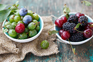 Bilder Obst Kirsche Stachelbeere Pflaume Lebensmittel
