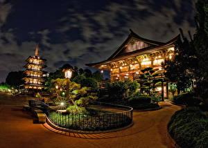 Bilder Vereinigte Staaten Disneyland Park Kalifornien Anaheim Design HDR Nacht Straßenlaterne Städte