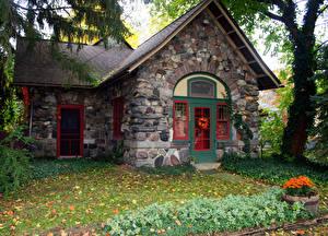 Hintergrundbilder USA Haus Gras Michigan Städte