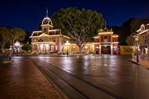 Bilder Vereinigte Staaten Disneyland Haus Park Kalifornien Anaheim Design HDRI Nacht Straßenlaterne Städte