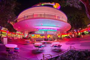 Hintergrundbilder USA Disneyland Park Kalifornien Anaheim HDR Nacht Design Café Tisch Stühle Städte