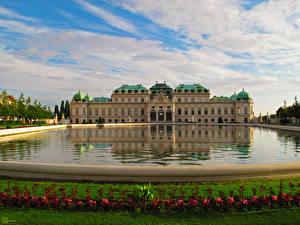 Bureaubladachtergronden Oostenrijk Burcht Park Zwembad Gras Wien Oberes Belvedere een stad