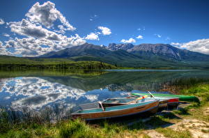 Hintergrundbilder Kanada Park See Boot Gebirge Landschaftsfotografie Himmel Gras Jasper park Talbot Natur