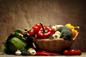 Pictures Vegetables Cabbage Bell pepper Allium sativum Mushrooms Tomatoes Wicker basket Food