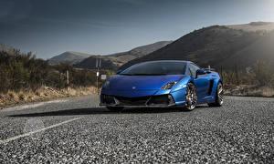 Picture Lamborghini Roads Mountains Tuning Blue Front Luxurious Asphalt 2014 Gallardo LP550-2 Renazzo auto Nature