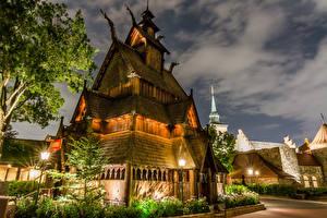 Fotos Vereinigte Staaten Disneyland Park Gebäude HDRI Kalifornien Anaheim Design Nacht Straßenlaterne Städte