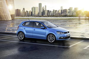 Image Volkswagen Building Light Blue Side Parking 2014 Polo automobile Cities