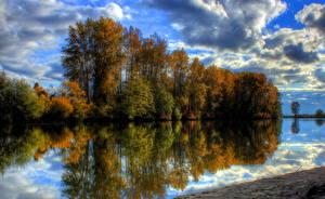 Hintergrundbilder Vereinigte Staaten Flusse Himmel HDR Bäume Skagit Natur