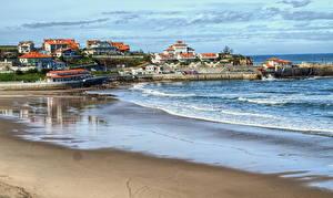 Photo Spain Sea Coast Building Sand Beach Comillas Cantabria Cities Nature