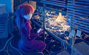Wallpapers Neon Genesis Evangelion Staring Hair Telephone soryu asuka langley Anime Girls