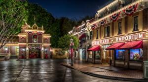 Fotos Vereinigte Staaten Disneyland Park Gebäude Kalifornien Anaheim Design HDR Nacht Gehweg Städte