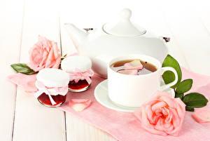 Picture Drinks Tea Roses Cup Jar Food