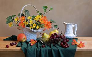 Picture Still-life Grapes Pears Apples Pitcher Wicker basket