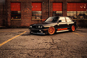 Images BMW Tuning Black Asphalt 1986 M3 E30 Cars